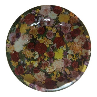 1970s Vintage Floral Daher English Tin Tray For Sale