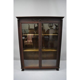 Victorian Oak Glass Two Door Bookcase With Claw Feet Lion Preview