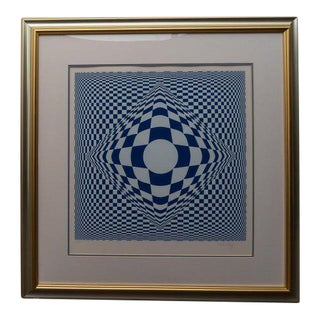 Vasarely Op Art Silk Screen Print Signed Ltd Ed For Sale