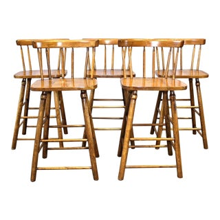 Walnut Spindle Back Stools - Set of 5