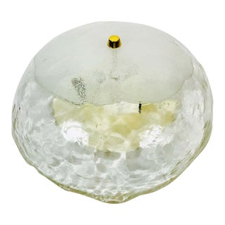 Extra Large Midcentury Round Ice Glass Flush Mount by J.T. Kalmar, 1960s For Sale