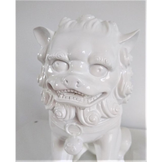 Ceramic Vintage Foo Dogs on Lucite Bases - Pair For Sale - Image 4 of 13