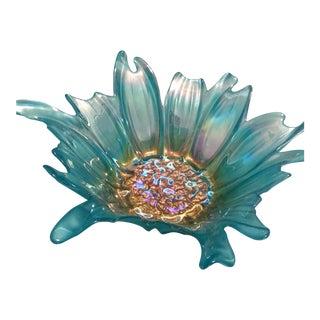 Vintage Style Aqua Glass Trinket Decorative Bowl