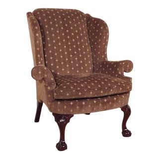 Contemporary Kindel Winterthur Mahogany Coco Print Wingback Chair For Sale