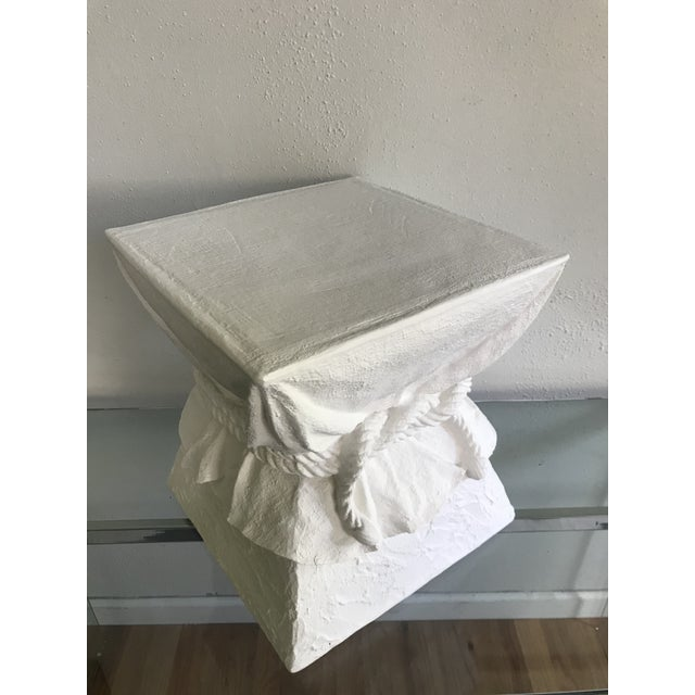 Abstract Manner of John Dickinson Tromp L'oeil White Faux Plaster Pedestal Stand For Sale - Image 3 of 5
