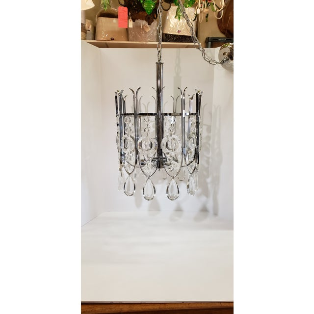 Gaetano Sciolari Chrome and Crystal Chandilier For Sale - Image 12 of 12