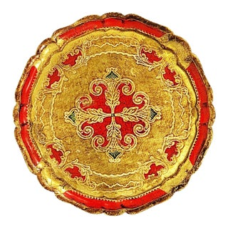 Gold and Red Round Florentine Tray For Sale