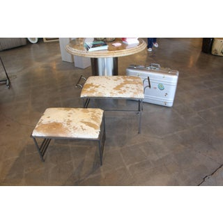 Debrided Hide Seat Steel Benches - a Pair Preview
