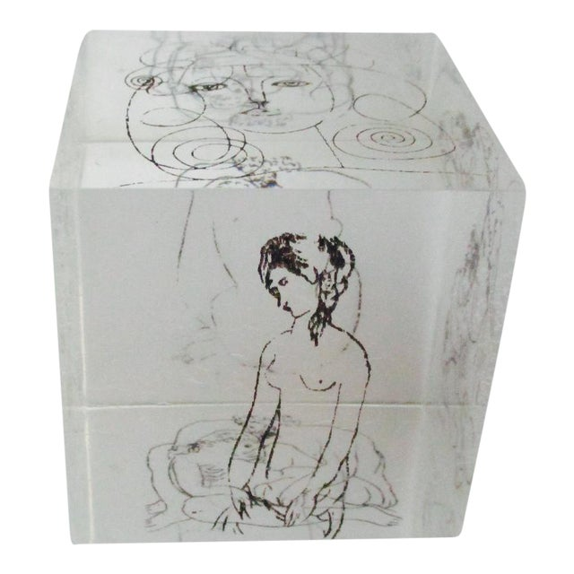 Picasso Drawings Lucite Cube Paperweight For Sale