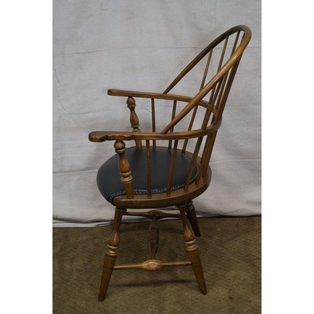 Early American Frederick Duckloe Vintage Loop Back Arm Chair For Sale - Image 3 of 9