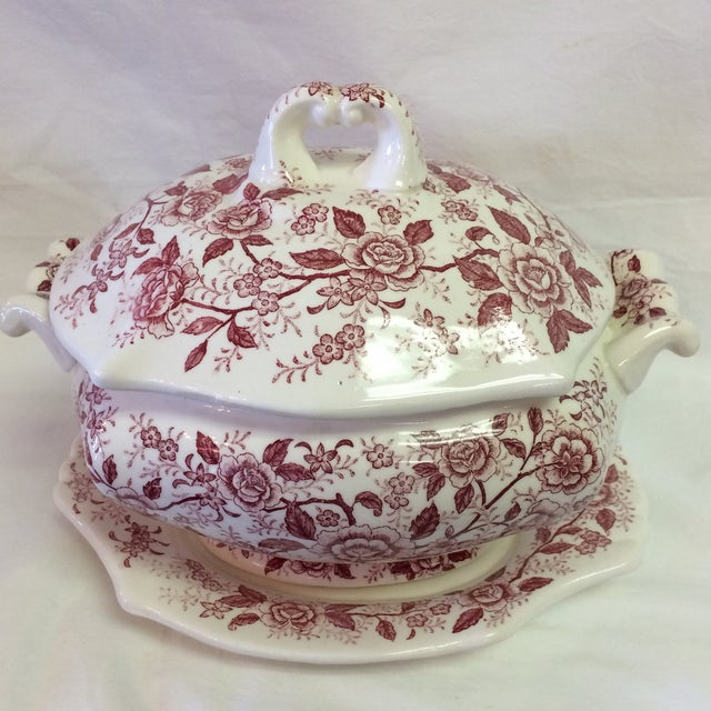 Antique English Rose Transferware Tureen With Underplate - 3 Piece Set For Sale - Image 10 of 12