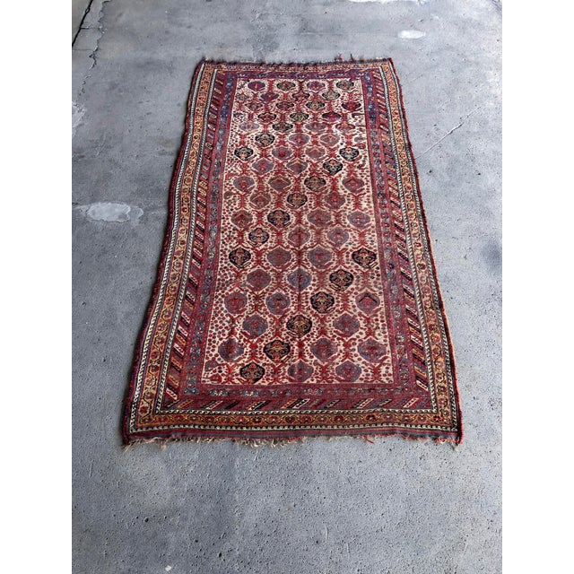 Textile Antique Distressed Persian Khamseh Boho Tribal Rug - 5x9 Wide Runner For Sale - Image 7 of 7