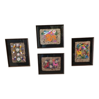 Vintage Amate Mexican Bark Paintings - Set of 4 For Sale