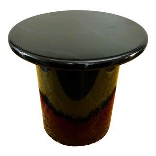 Black Lacquer Pedestal Side Table