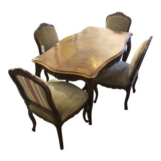 Antique Carved Dining Set - 5 Pieces For Sale