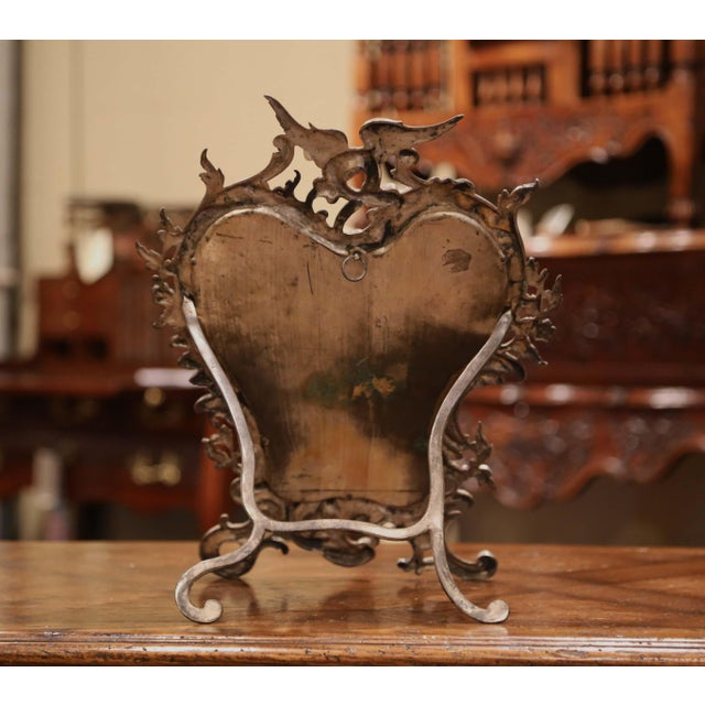 19th Century French Louis XV Silvered Bronze Free Standing Vanity Table Mirror For Sale - Image 9 of 10