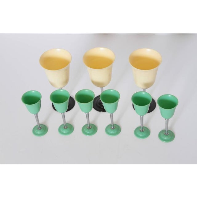 Machine Age Art Deco Nudawn Van Doren & Rideout Stemware Set for National Silver For Sale - Image 9 of 11