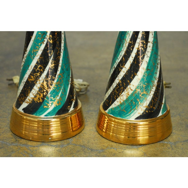 Mid-Century Gilt Ceramic Striped Lamps - A Pair - Image 3 of 6