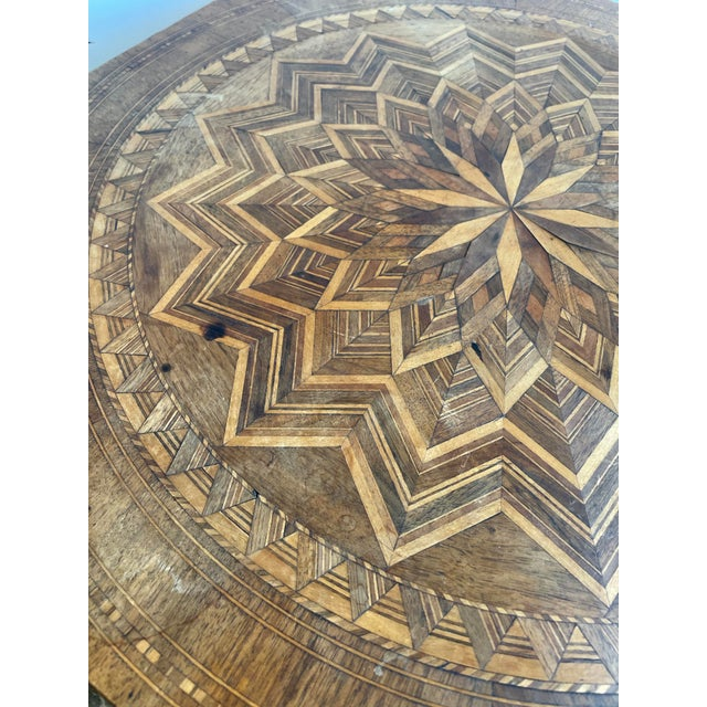 French Antique Louis XV Parquet Octagonal Side Table For Sale - Image 3 of 8