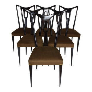 1940s Vintage Guglielmo Ulrich Style Italian Dining Chairs- Set of 6 For Sale