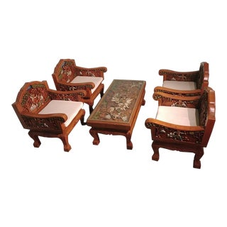 Thai Coffee Table and 4 Chairs With Carved Battle Scenes For Sale