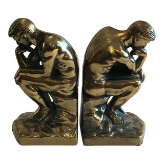 """1970s Figurative Cast Brass """"The Thinker"""" Bookends - a Pair For Sale"""