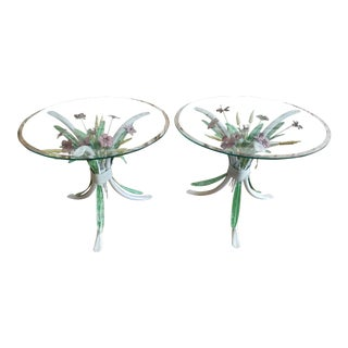 20th Century Italian White Metal Tole Painted Flower Side Tables - a Pair For Sale