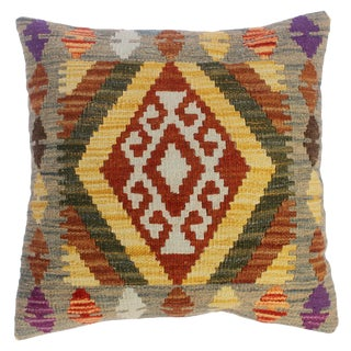 """Cindy Gray/Gold Hand-Woven Kilim Throw Pillow(18""""x18"""") For Sale"""