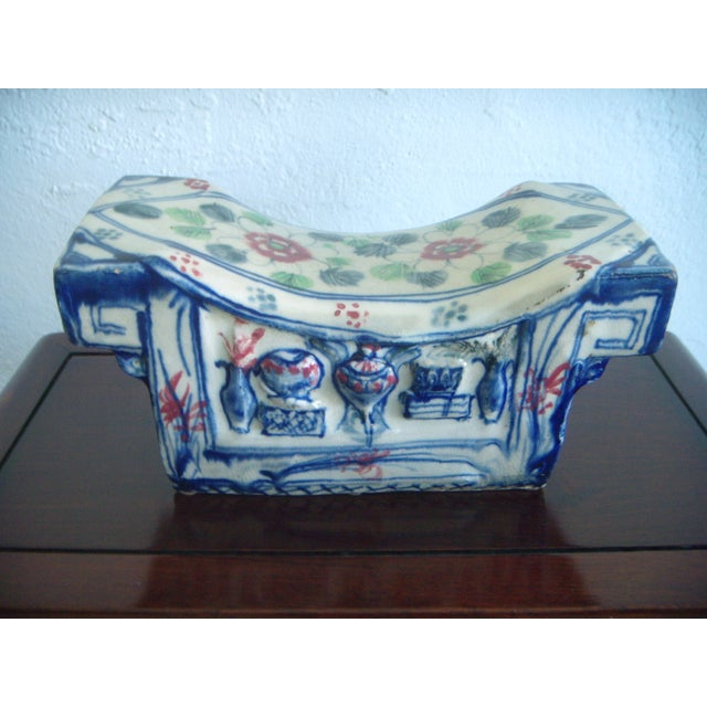 Ceramic Vintage Chinese Porcelain Head Rest/Opium Pillow, Blue and White For Sale - Image 7 of 7