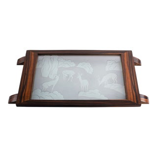 Art Deco Macassar Tray With Etched Glass Insert For Sale