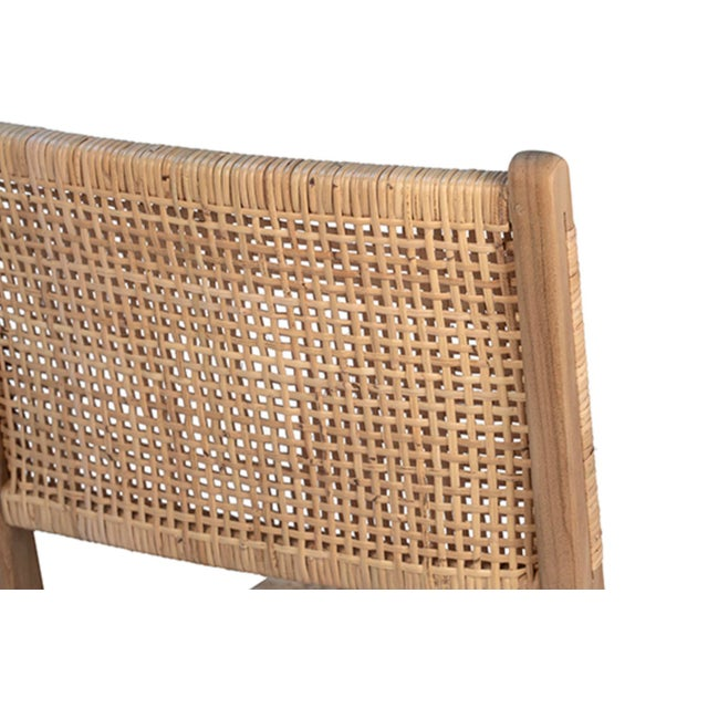 Natural Teak & Wicker Dining Chair For Sale - Image 4 of 7