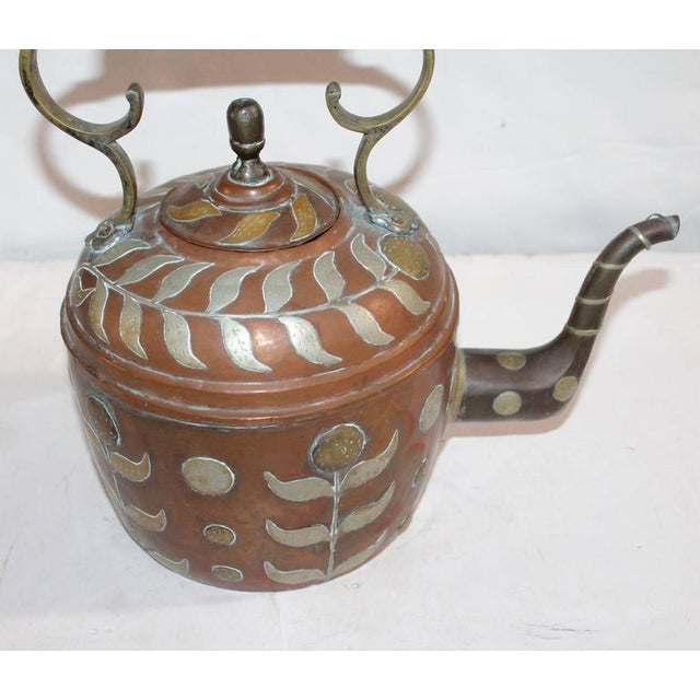 Americana Early 19th Century Spanish Decorated Copper Gooseneck Kettle Pot For Sale - Image 3 of 6