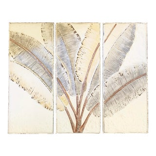 Large Fanning Banana Leaves Painted and Pressed Tin Triptych by Kalalou - 3 Pieces For Sale