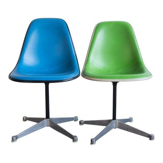 Vintage Eames Upholstered Side Chairs - A Pair
