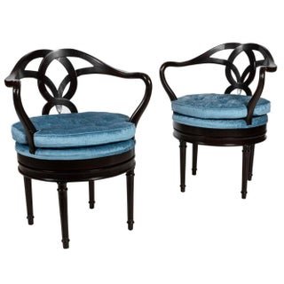 Hollywood Regency English Swivel Chairs - A Pair For Sale