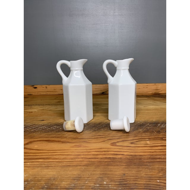 Vintage White Condiment Jars - a Pair For Sale - Image 11 of 11