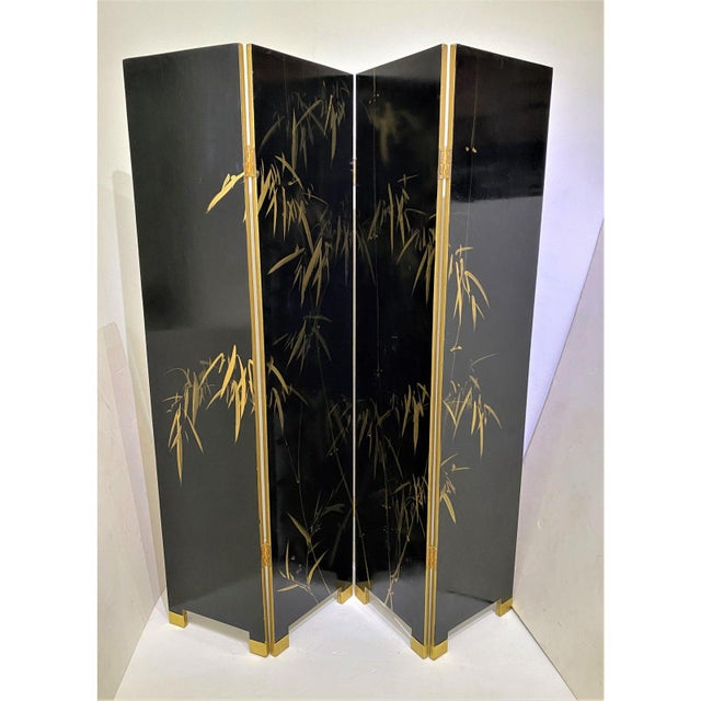 Gold Vintage Art Deco E J Ruhlmann Style 4-Panel Room Divider Screen For Sale - Image 8 of 13