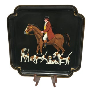 Vintage Hand Painted Metal English Hunting Scene Tray For Sale