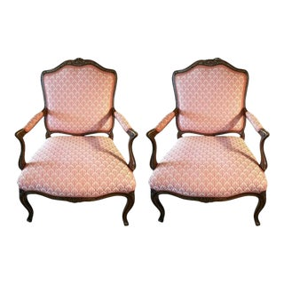 20th Century Louis XVI Oak and Upholstered Armchairs - a Pair For Sale