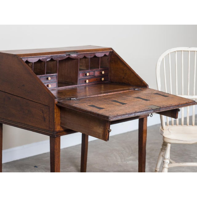 Brown Antique English George III Period Oak Slant Front Desk circa 1760 For Sale - Image 8 of 10