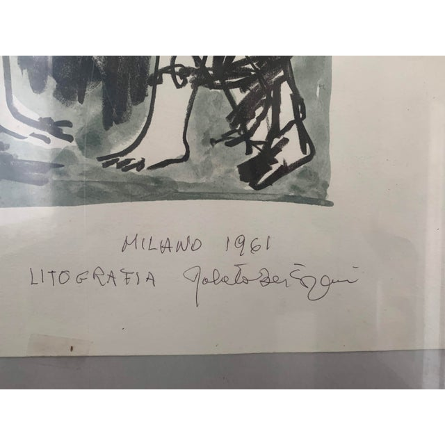 Watercolor 1961 Italian Framed Watercolor Ink Sketch Painting of a Roman Man and Woman Wearing Togas For Sale - Image 7 of 10