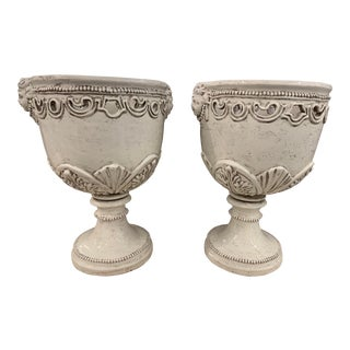 1980s Vintage Large White Italian Urns- A Pair For Sale