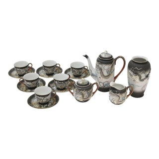 Asian Moriage Dragonware Demitasse Tea Set - 16 Pieces For Sale