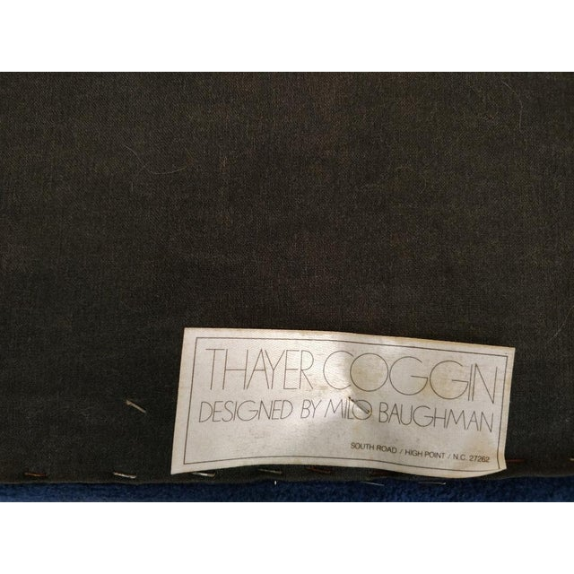 Blue 1930s Mid-Century Modern Milo Baughman for Thayer Coggin Fabric Stool For Sale - Image 8 of 11