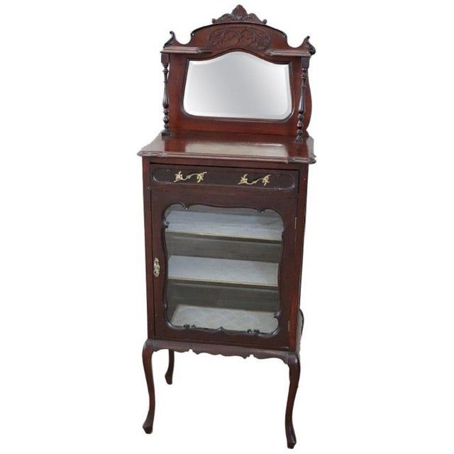19th Century English Mahogany Carved Antique Vitrine or Display Cabinet For Sale - Image 11 of 11