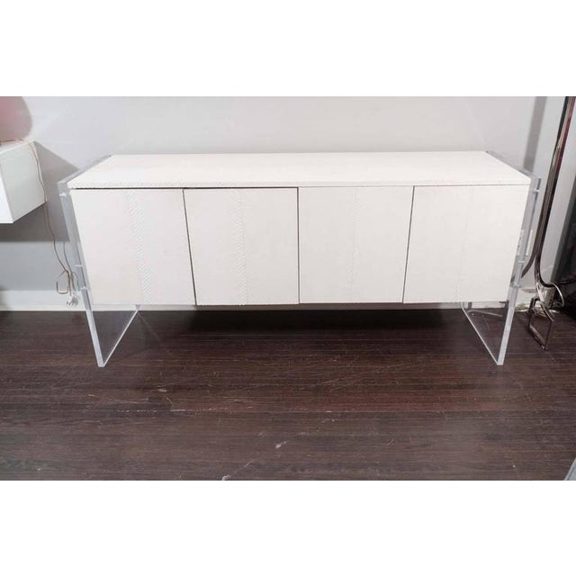 Lucite White Python Sideboard with Lucite Side Panels For Sale - Image 7 of 7