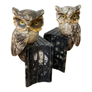 Antique Carved Italian Marble Owl Bookends - a Pair For Sale