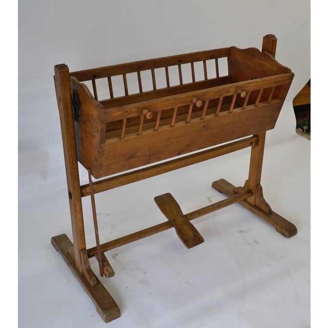 Traditional Pine Rocking Cradle For Sale - Image 3 of 7