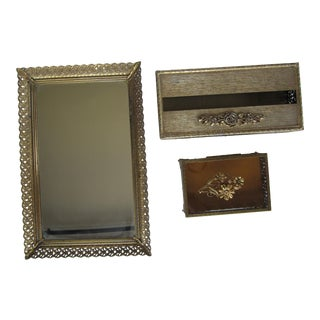 Vintage Hollywood Regency Vanity Mirror Tray, Tissue Holder & Trinket Casket - 3 Pieces For Sale