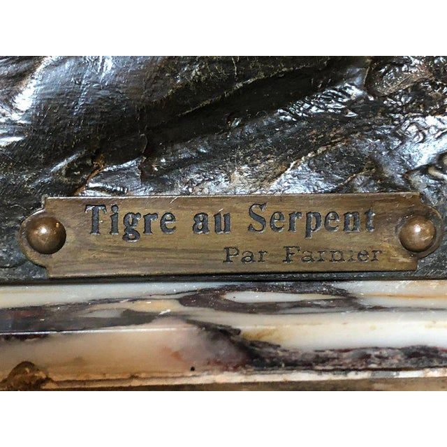 French Zinc Tiger Challenging a Rattlesnake on Marble Base Mantle Clock Signed For Sale - Image 10 of 13